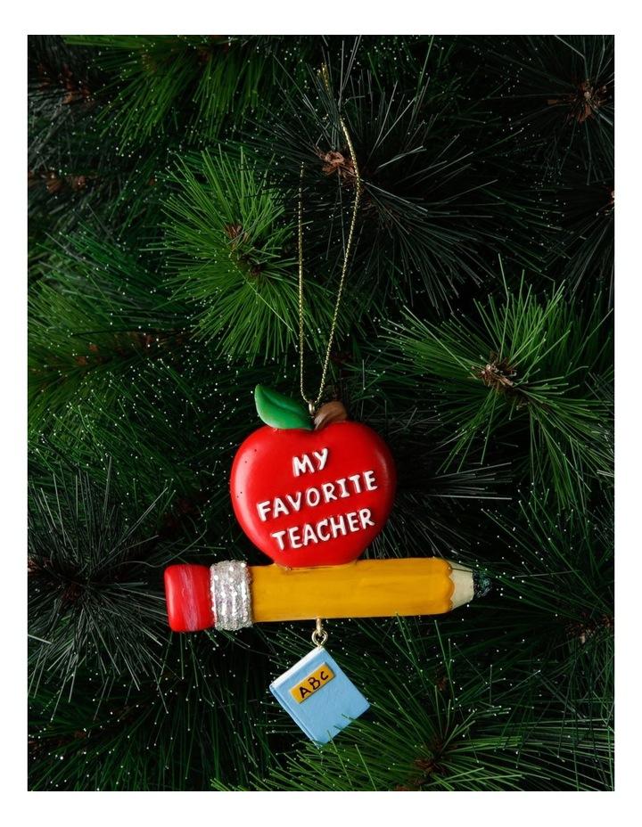 Merry & Bright Teacher's Apple & Pencil Hanging Ornament image 2
