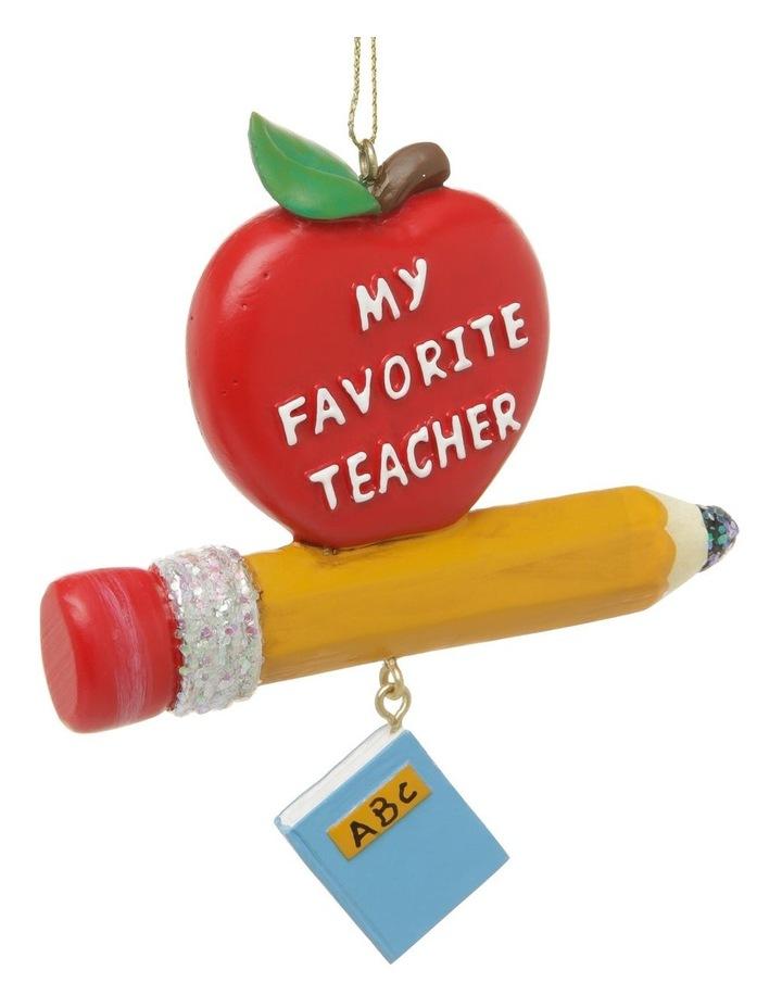 Merry & Bright Teacher's Apple & Pencil Hanging Ornament image 3