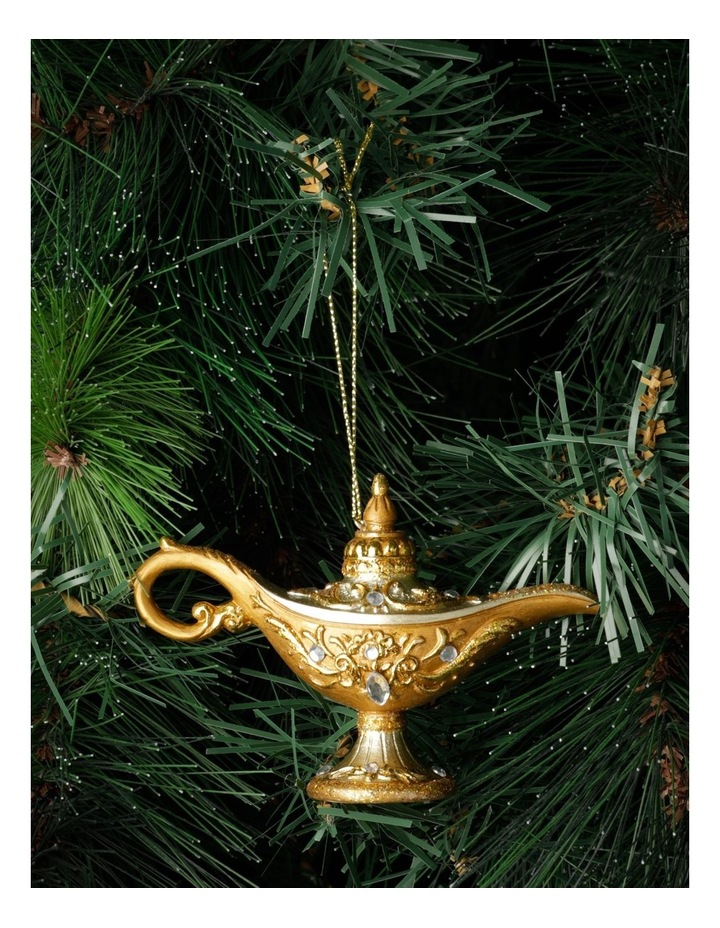 Luxe Polyresin Oil Lamp Ornament- Champagne: 7cm image 1