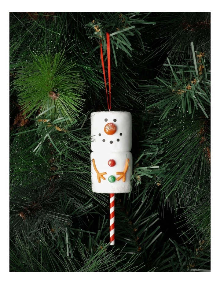Merry & Bright Claydough Marshmallow Snowman Ornament- White: 12cm image 1