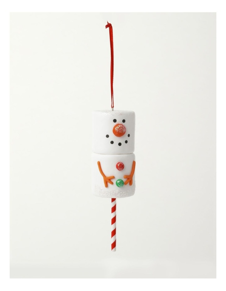 Merry & Bright Claydough Marshmallow Snowman Ornament- White: 12cm image 2