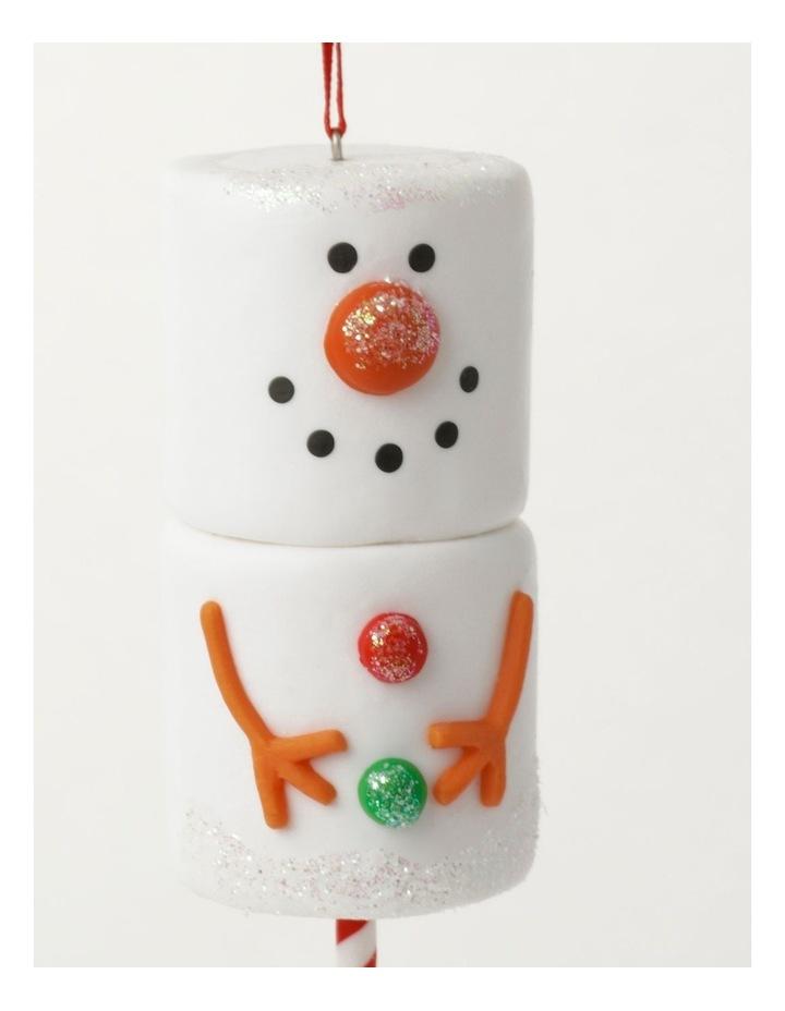 Merry & Bright Claydough Marshmallow Snowman Ornament- White: 12cm image 3