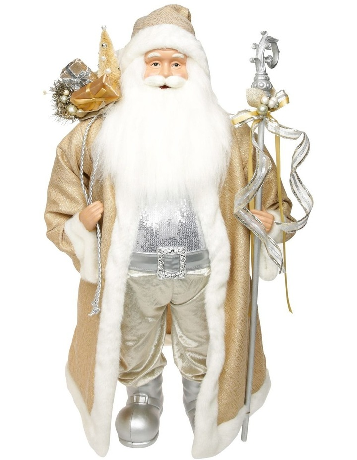 Luxe Champagne Gold Santa With Staff & Pick image 1