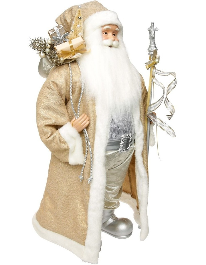Luxe Champagne Gold Santa With Staff & Pick image 2