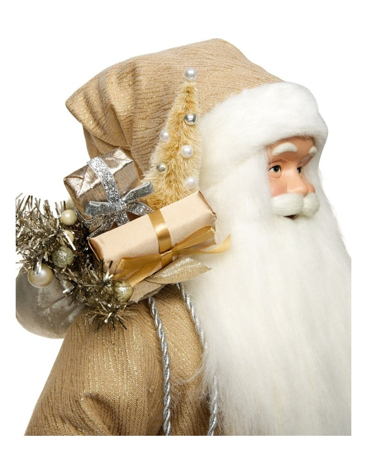 Luxe Champagne Gold Santa With Staff & Pick image 3