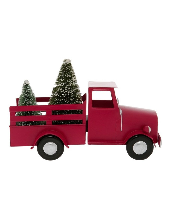 Heirloom 28cm Red Metal Truck With Christmas Tree On The Back image 1