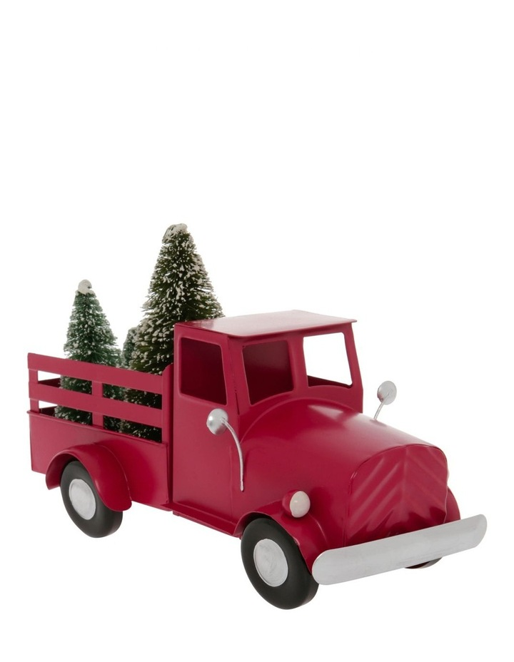 Heirloom 28cm Red Metal Truck With Christmas Tree On The Back image 2