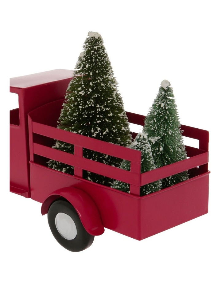 Heirloom 28cm Red Metal Truck With Christmas Tree On The Back image 3