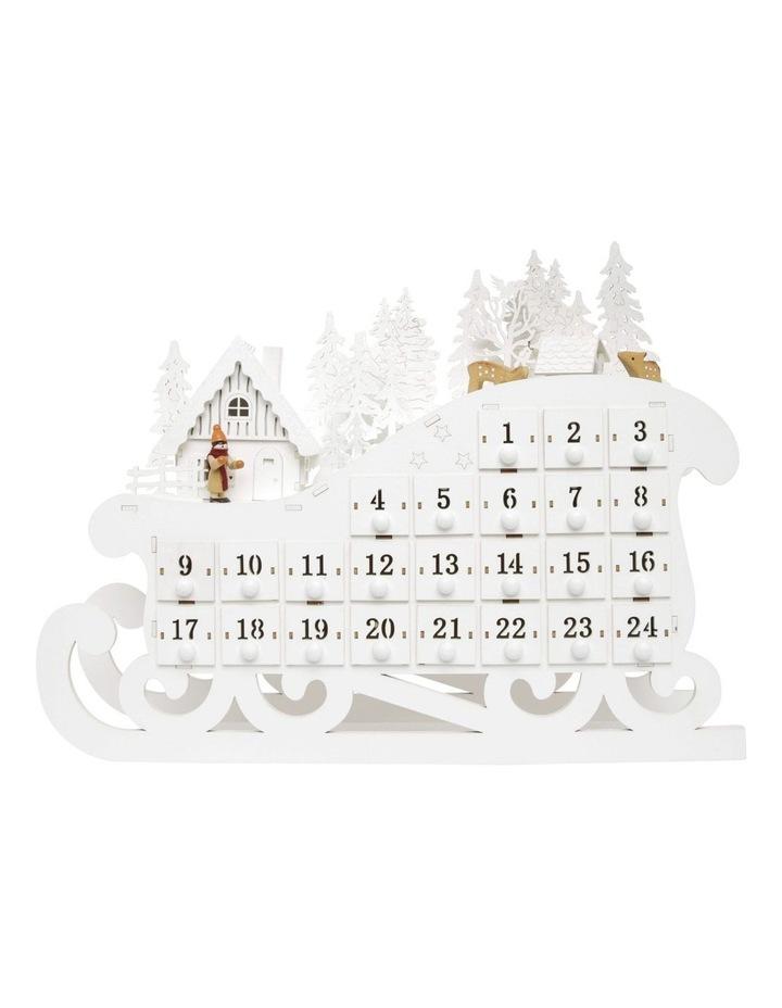 Luxe LED Wooden Sleigh Advent Calendar White 34cm image 1