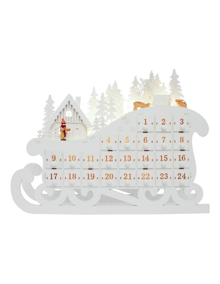 Luxe LED Wooden Sleigh Advent Calendar White 34cm image 2