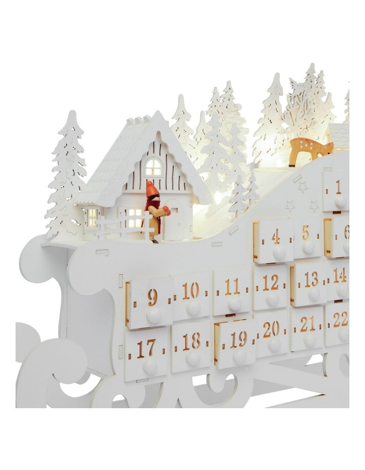 vue luxe led wooden sleigh advent calendar white 34cm myer. Black Bedroom Furniture Sets. Home Design Ideas