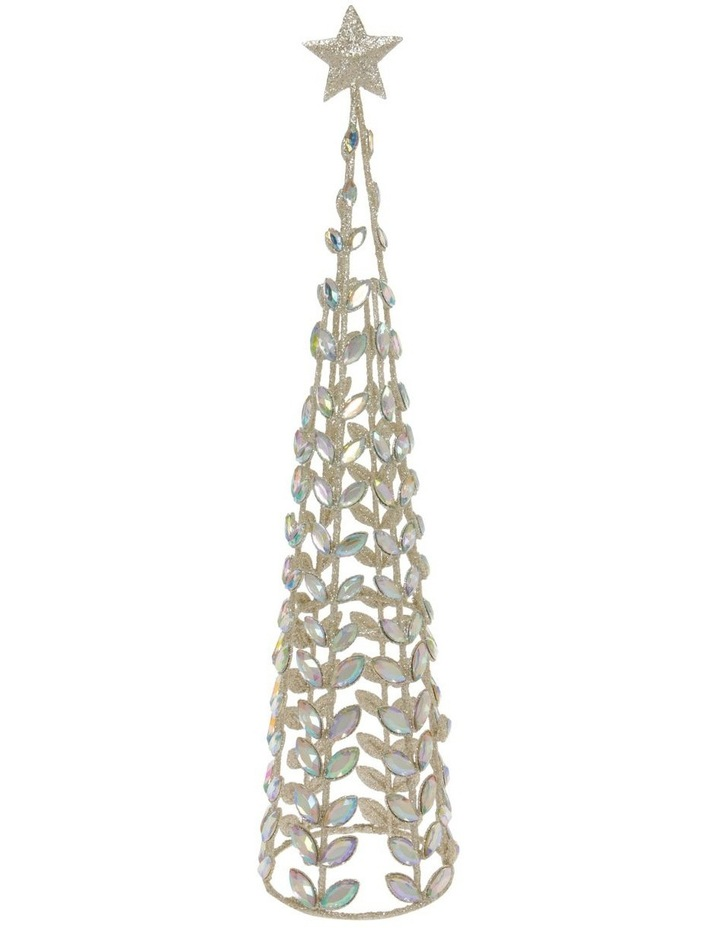Luxe Champagne Faux Jewel Cone Tree Decoration image 1