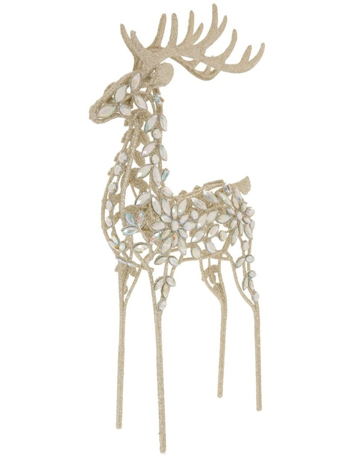 Luxe Bejewelled Glitter Standing Reindeer Decoration image 2