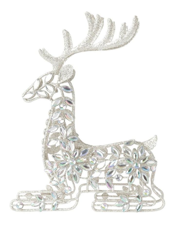 Luxe Metal Bejewelled Glitter Sitting Reindeer Decoration image 1