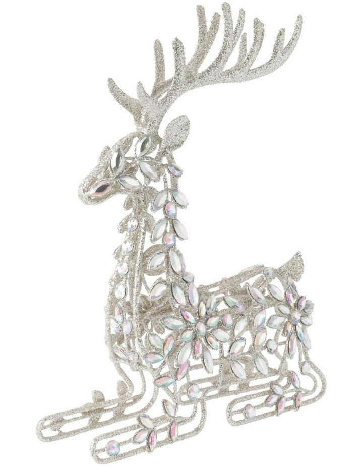 Luxe Metal Bejewelled Glitter Sitting Reindeer Decoration image 2