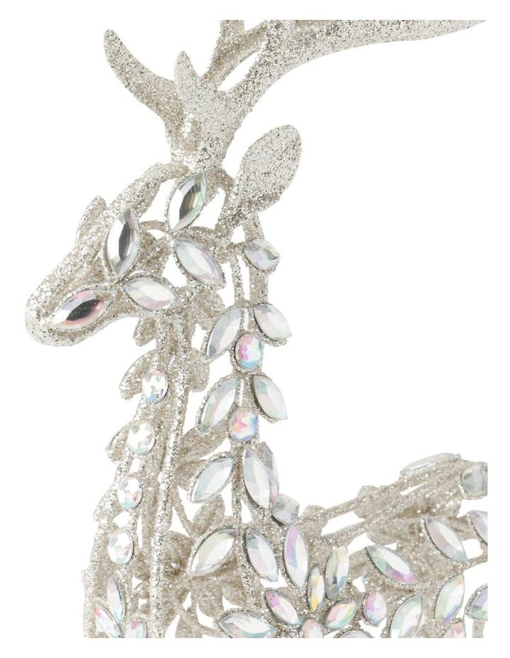 Luxe Metal Bejewelled Glitter Sitting Reindeer Decoration image 3