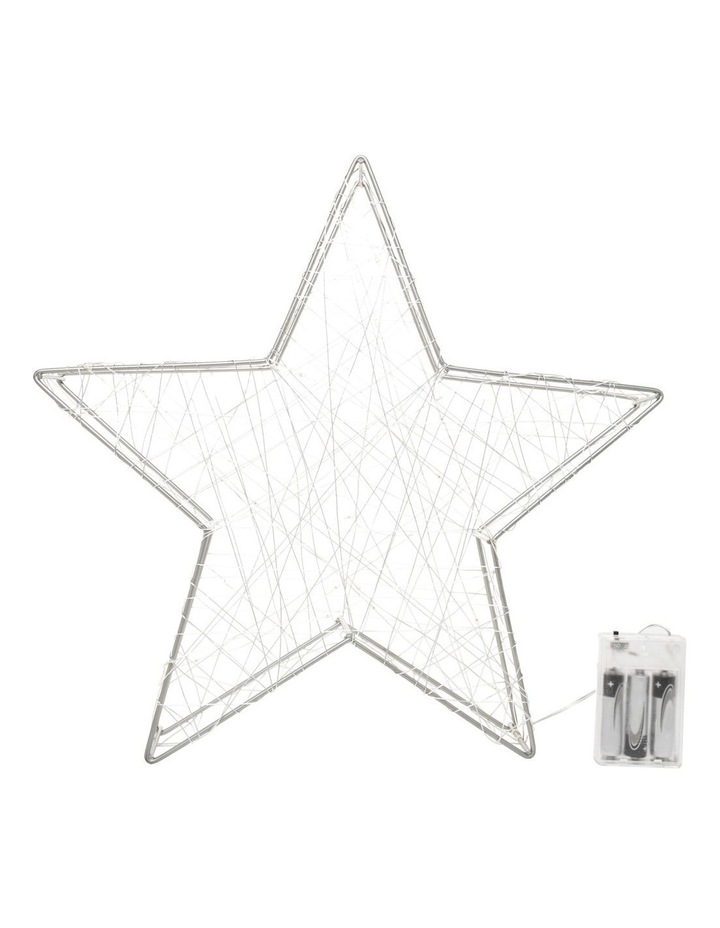 Eucalyptus Metal & Wire Wrapped LED Star Decoration- Silver 35 cm image 1