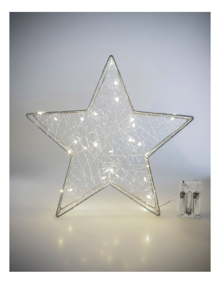 Eucalyptus Metal & Wire Wrapped LED Star Decoration- Silver 35 cm image 2