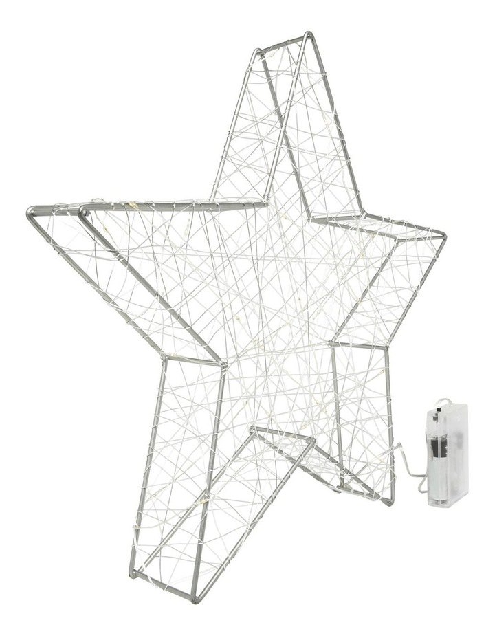 Eucalyptus Metal & Wire Wrapped LED Star Decoration- Silver 35 cm image 3