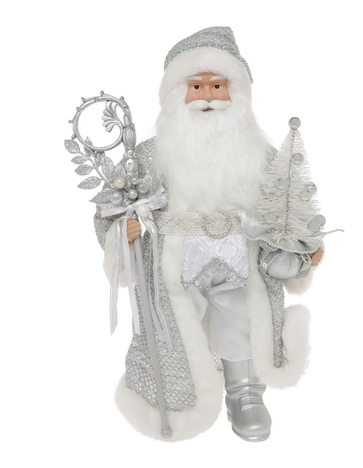 Luxe Avery Fabric Santa with Staff & Tree Decoration 46 cm image 1