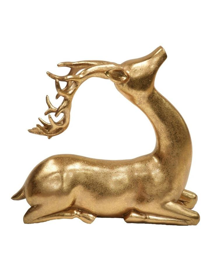 Heirloom Antiqued Gold Sitting Reindeer Decoration 26 cm image 1