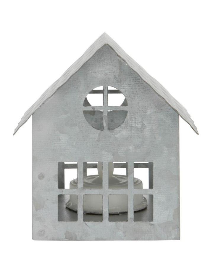 Eucalyptus Silver Metal Cut-Out House LED Decoration 9cm image 1