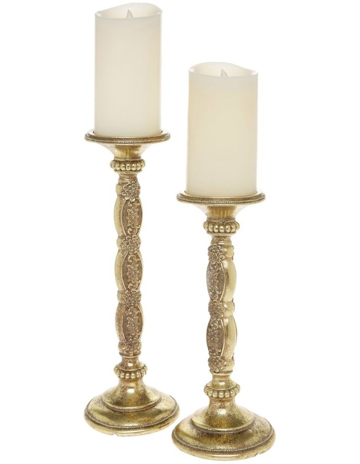 Heirloom Set of 2 Antique-Style Candlesticks in Gold 26cm image 1