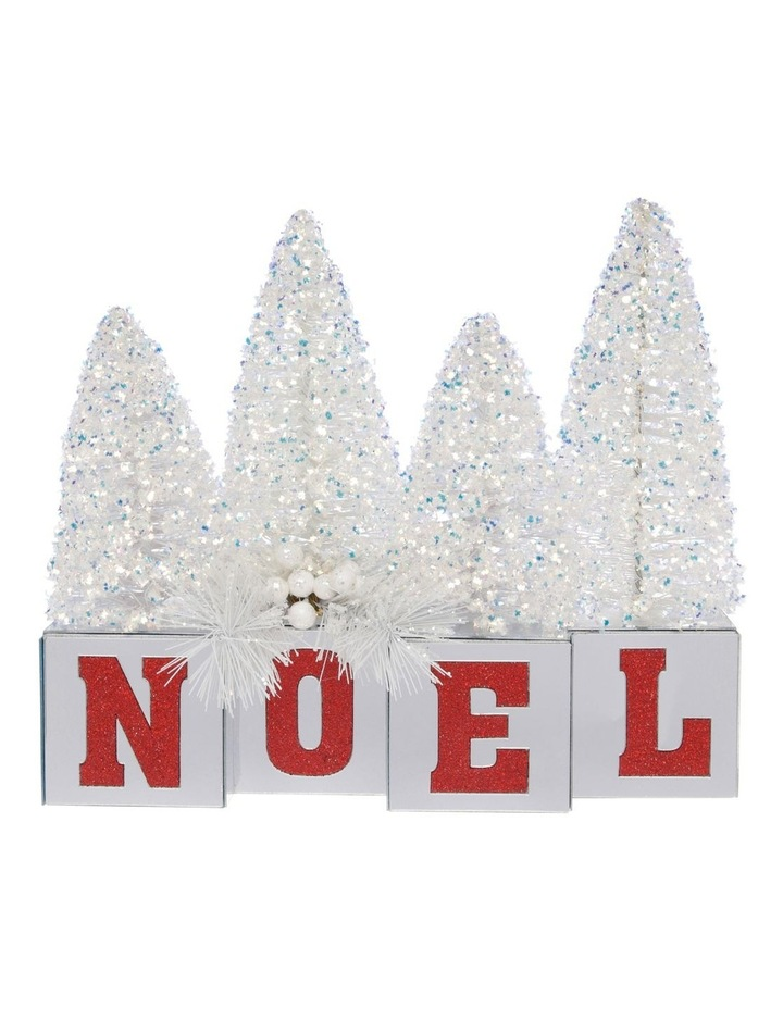 Merry & Bright Glitter Tree NOEL Decoration with Mirrored Base image 1