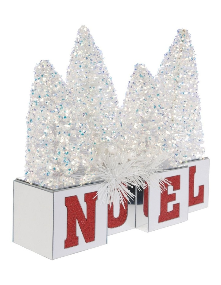 Merry & Bright Glitter Tree NOEL Decoration with Mirrored Base image 2