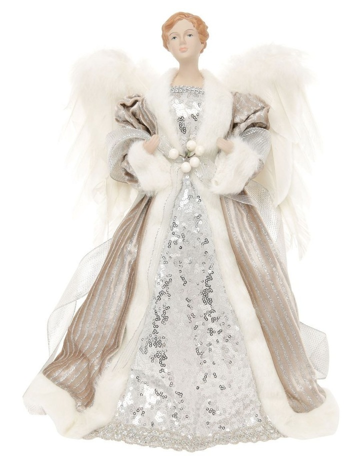 Luxe Divina Fabric Angel Tree-Topper with Feather Wings image 1