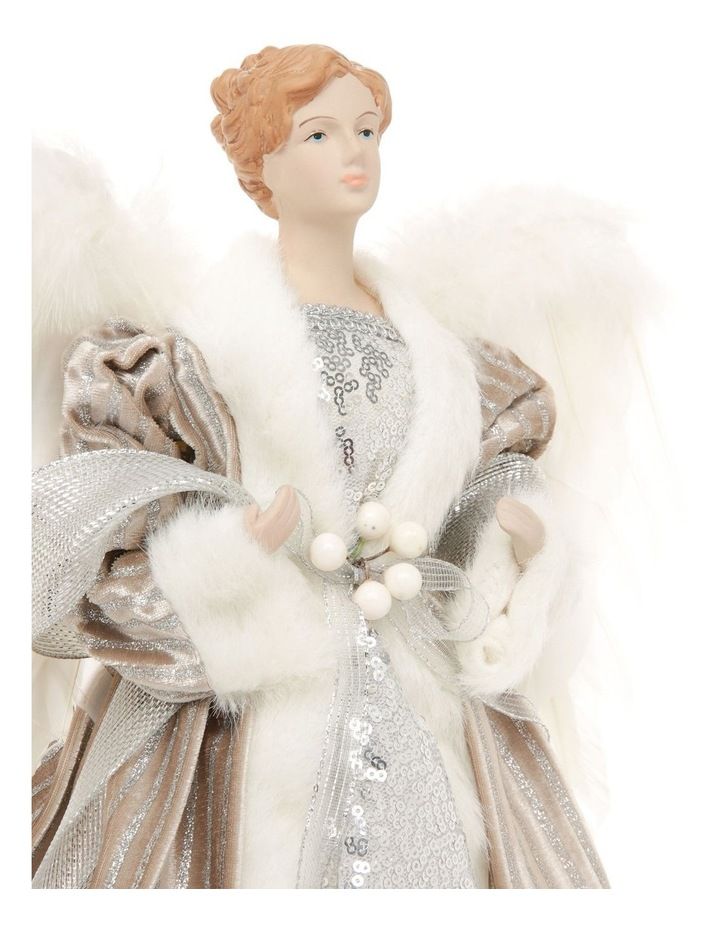 Luxe Divina Fabric Angel Tree-Topper with Feather Wings image 2