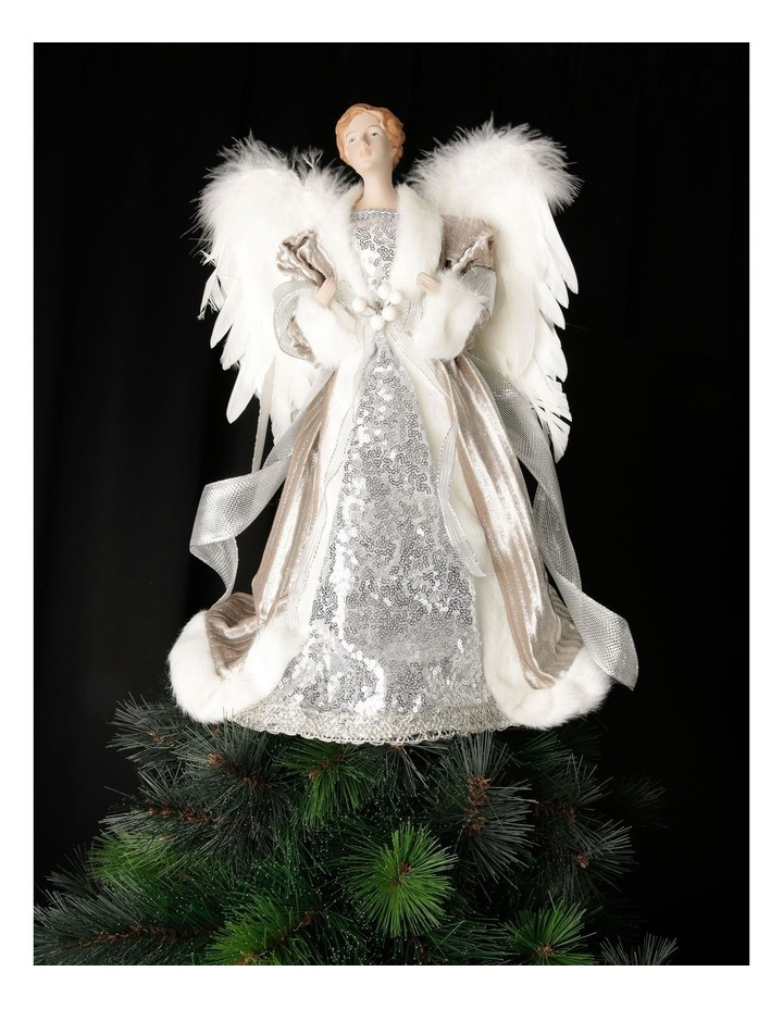 Luxe Divina Fabric Angel Tree-Topper with Feather Wings image 4