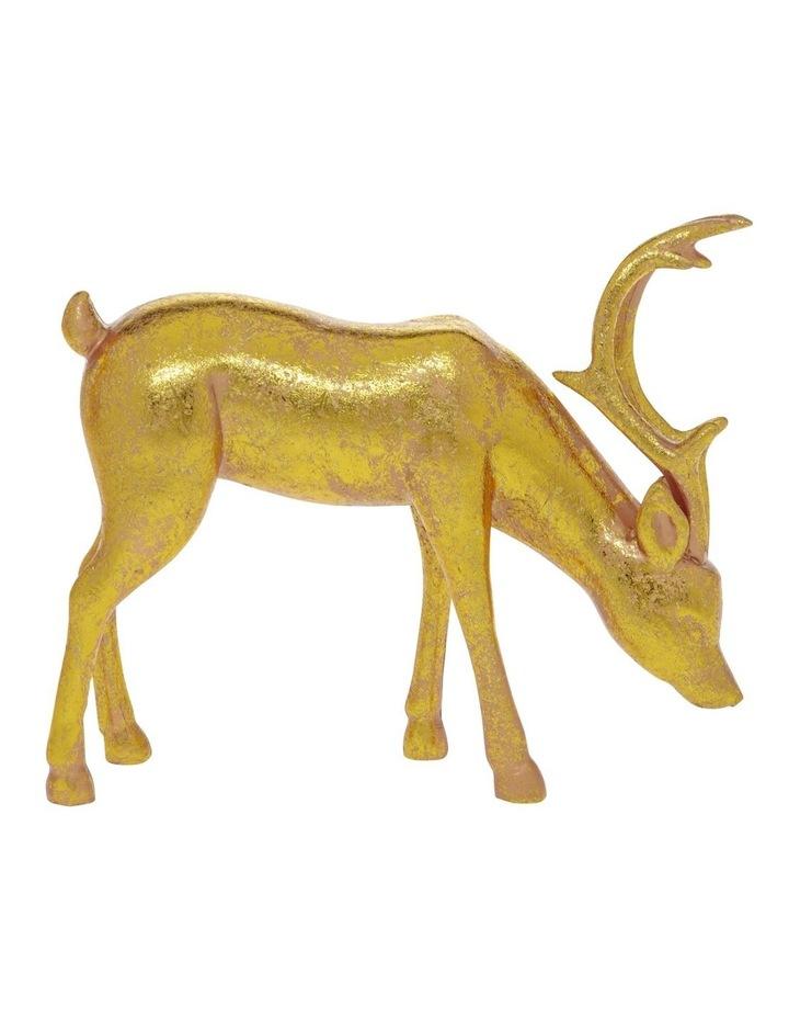 Heirloom Antiqued Gold Feeding Reindeer Decoration 18 cm image 1