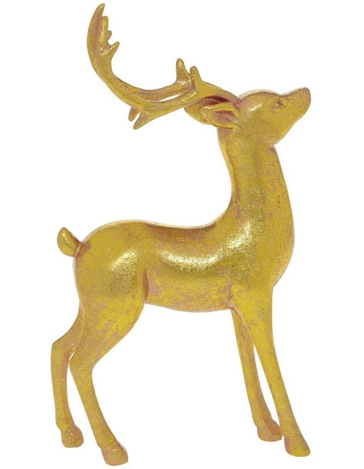 Heirloom Antiqued Gold Standing Reindeer Decoration 22cm image 1