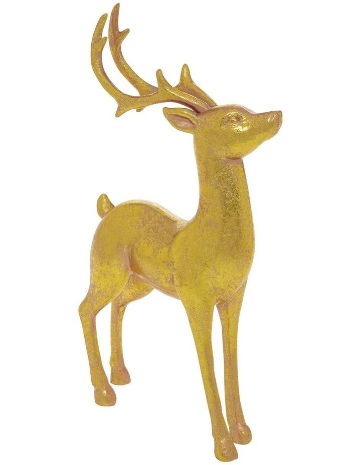 Heirloom Antiqued Gold Standing Reindeer Decoration 22cm image 2