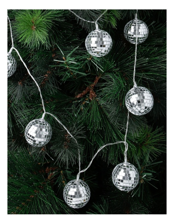 Merry & Bright Silver Mirror Ball LED Garland 160cm image 2