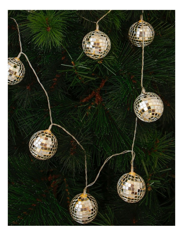 Merry & Bright Silver Mirror Ball LED Garland 160cm image 3