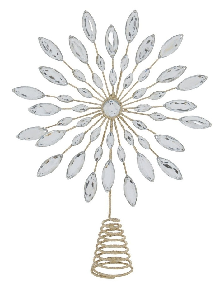 Luxe Champagne Gem & Glitter Snowflake Tree Topper image 1