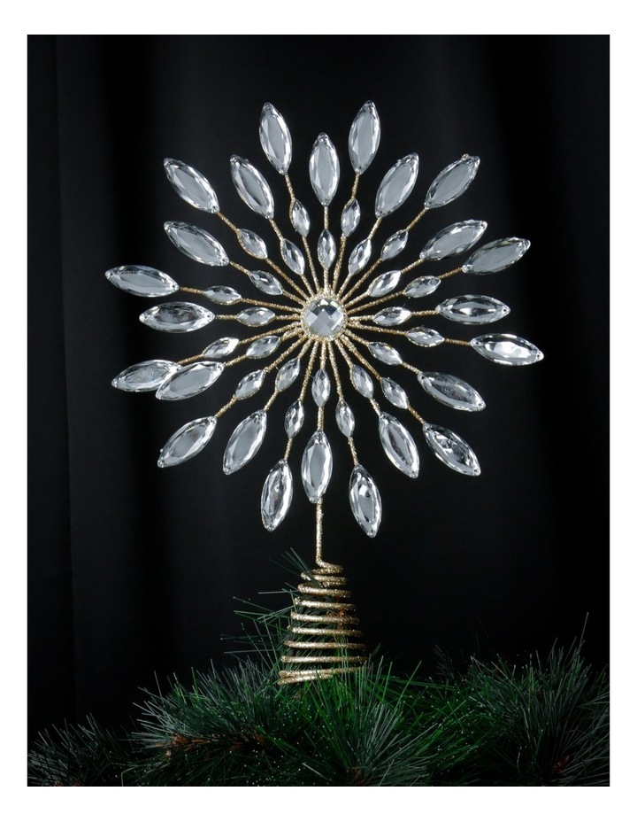 Luxe Champagne Gem & Glitter Snowflake Tree Topper image 2