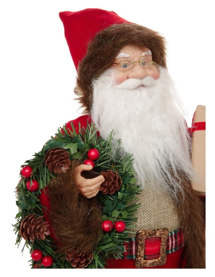 Heirloom Nicholas Fabric Santa Decoration with Gift & Wreath image 3