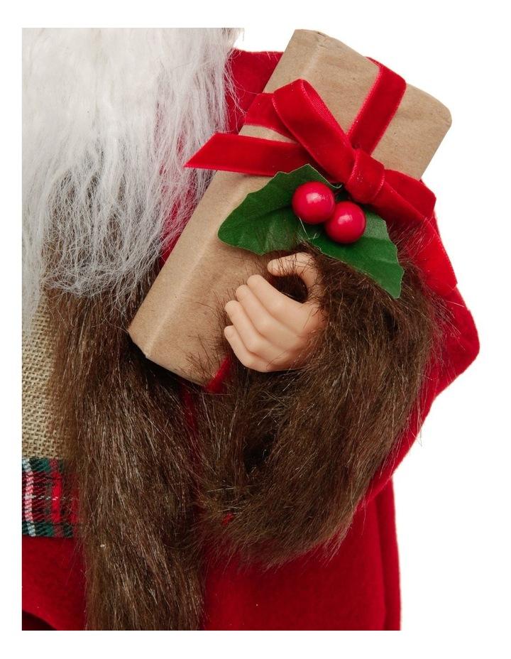 Heirloom Nicholas Fabric Santa Decoration with Gift & Wreath image 4