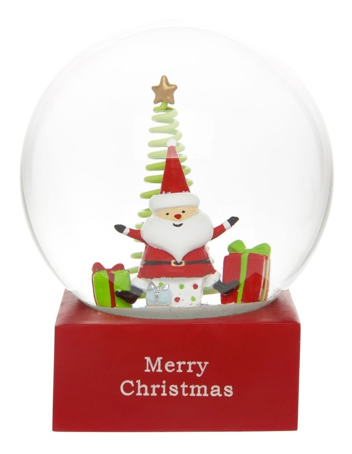 Merry & Bright Polyresin Santa with Gifts Snowglobe 14cm image 1