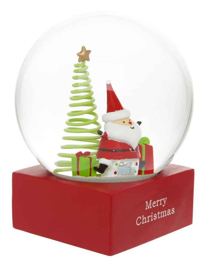 Merry & Bright Polyresin Santa with Gifts Snowglobe 14cm image 2