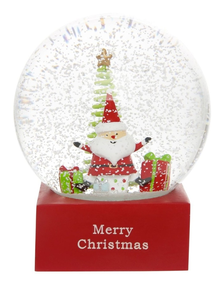 Merry & Bright Polyresin Santa with Gifts Snowglobe 14cm image 3