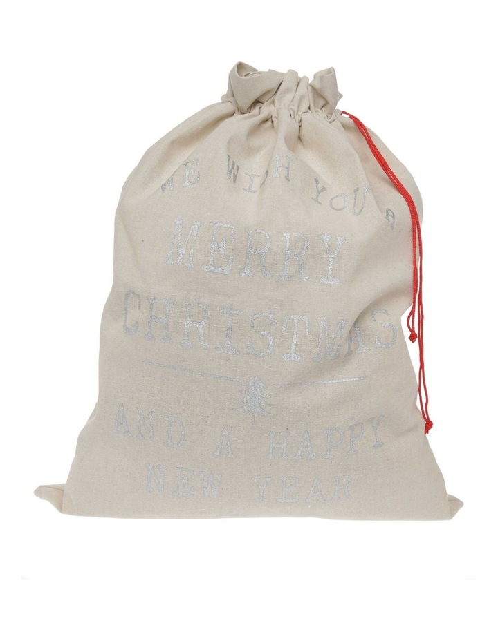 Eucalyptus Christmas Message Gift Sack in Silver image 1