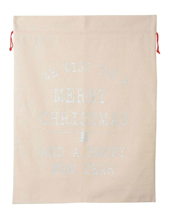 Eucalyptus Christmas Message Gift Sack in Silver image 3