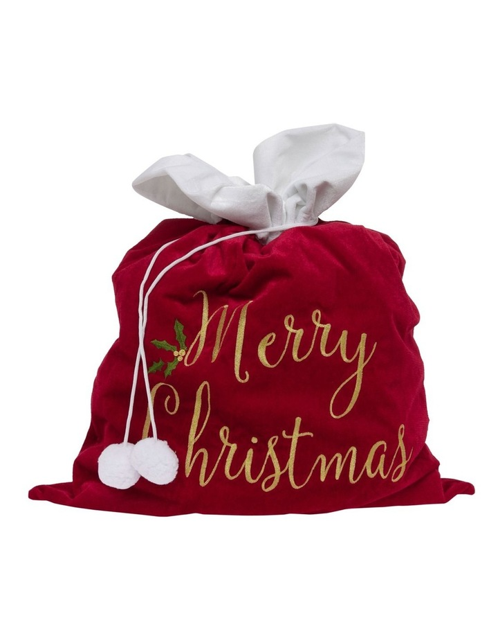 Heirloom Velvet Embroidered 'Merry Christmas' Gift Sack image 1
