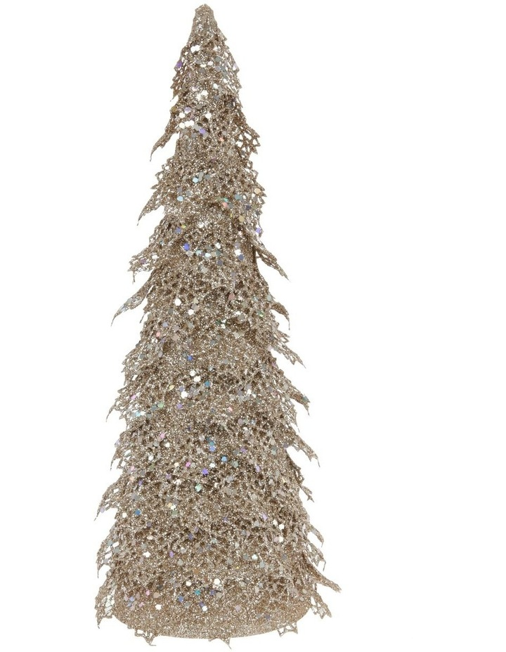 Luxe Champagne Glitter Triangle Leaf Tree Decoration image 1