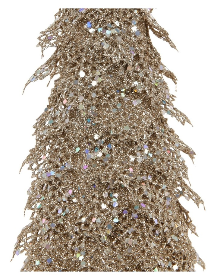 Luxe Champagne Glitter Triangle Leaf Tree Decoration image 2