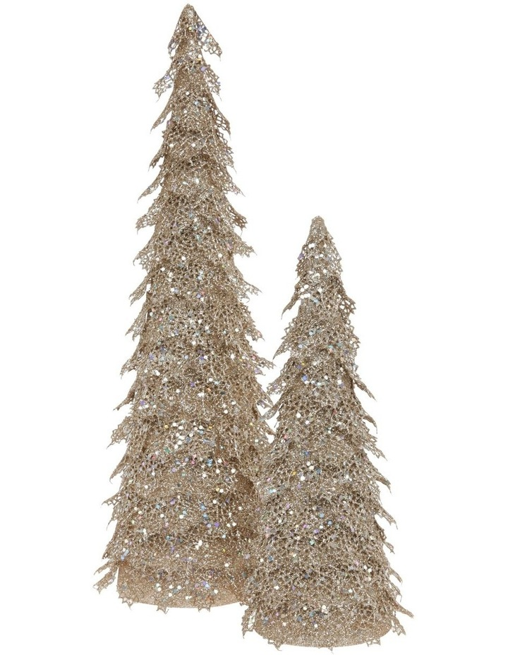 Luxe Champagne Glitter Triangle Leaf Tree Decoration image 3